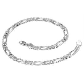 Engraved Figaro Silver Chain-CH013