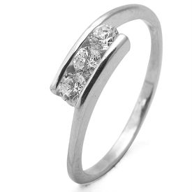 Pretty White Zircon Silver Finger Ring-FRL086