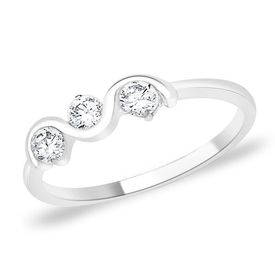 Cute White Zircon Silver Ring-FRL052