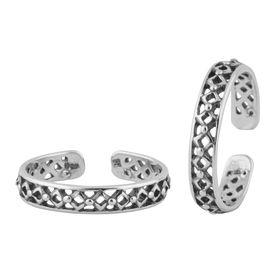 Foxy Cutwork Silver Toe Ring- TR394