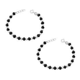 Kids Silver Black Beads Nazar Bracelet- BRNZ002