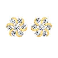 Diamond Daisy Floret Stud Earrings-RS00111, 18 kt, si-jk