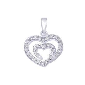 Cupid Heart CZ Silver Pendant-PD132