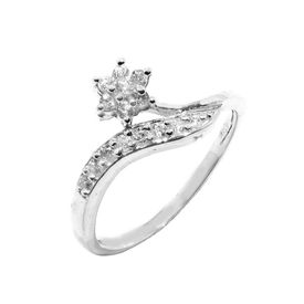 Marvelous Flower CZ Silver Finger Ring-FRL006