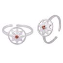 Flower Zircon Silver Toe Rings-TRMX106