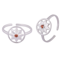 Flower Zircon Silver Toe Rings-TRMX106