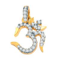 Divine Mahadev OM Diamond Pendant- AIP0113, si - ijk, 18 kt
