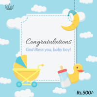Congrulations Baby Boy Arrival Gift Card, 500