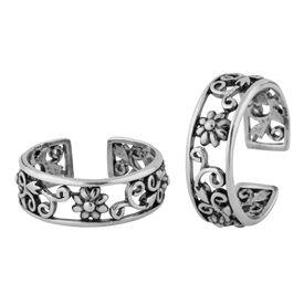 Flower Cutwork Silver Toe Ring- TR376