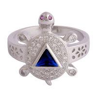 Blueish Turtle Unisex Ring-FRL181, 23