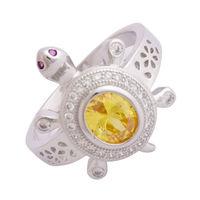 Yellow Stone Turtle Unisex Ring-FRL178, 25