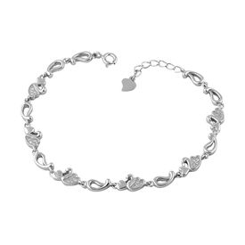 Heart & Duck Zircon Silver Bracelete- BR020