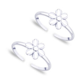 Comely Flower Silver Toe Ring- TR433