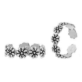 Flower Rolling Silver Toe Ring-TRMX065