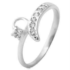 Classy White CZ Silver Finger Ring-FRL090