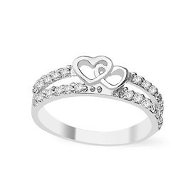 Sparkling Double Heart CZ Silver Finger Ring-FRL081