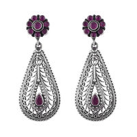Ornate Silver Earrings-ERMX025