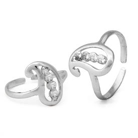 Carry White CZ Silver Toe Rings-TR326