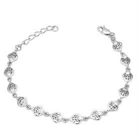 Shimmer Heart Silver Bracelete- BR018
