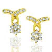 Down Flow Diamond Earrings- BANS0450ER, si - ijk, 18 kt