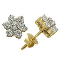 Diamond Flower Studs- BAER0503D, si - ijk, 18 kt