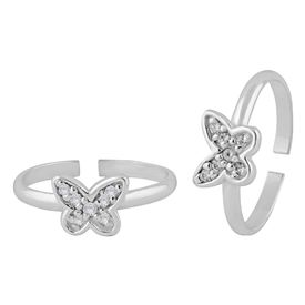 Sparkly Butterfly Zircon Silver Toe Rings-TR390