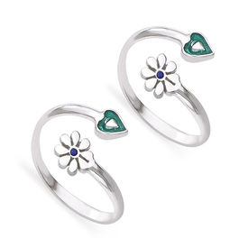 Enamel Heart & Floral Silver Toe Ring-TR460