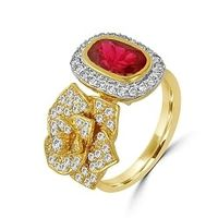 Red Stone Floral Diamond Ring-RRI00267, 18 kt, si-gh, 12
