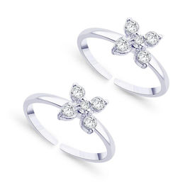 Bright Floral Zircon Silver Toe Ring-TR121