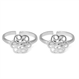 Gracy Floral Silver Toe Ring-TR303