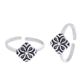Go Floral Silver Toe Ring-TR371