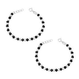 Silver & Black Beads Nazariya Bracelet- BRNZ003