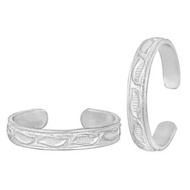 Matte Engraved Silver Toe Ring-TRRD049