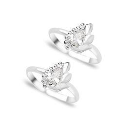 White Zircon Silver Toe Ring- TR261