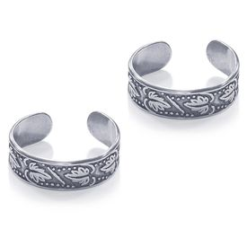 Antique Leaf Silver Toe Ring-TR457
