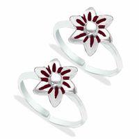 Bloom Full Silver Toe Ring-TR459