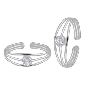 Green Zircon Silver Toe Ring-TRMX049