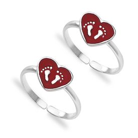 Heart Footprint Silver Toe Ring-TR408