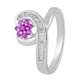 Captivating Heart & Flower Zircon Ring-FRL126