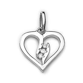 Linear Heart Zircon Silver Pendant-PD151