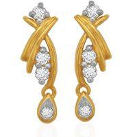 Diamond Drop Ear Cuffs- BAER0782, si - ijk, 18 kt