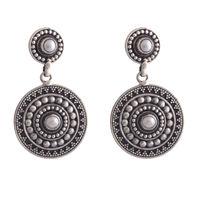 The Silver Mandala Earrings-ERMX035