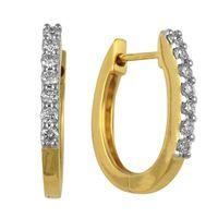 Folded Diamond Earrings- BAER0897, si - ijk, 14 kt