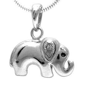 Elephant Zircon Silver Pendant-PD105