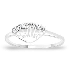 Sparkling White Zircon Silver Finger Ring-FRL061