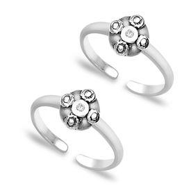 Zircon Finish Silver Toe Rings- TR166