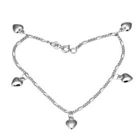 Heart Charms Silver Bracelete- BR019