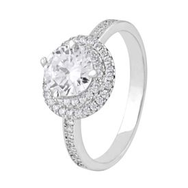 Majestic White Zircon Silver Ring-FRL129
