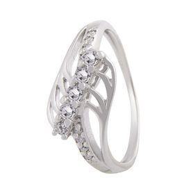 Beautifully Crafted Zircon Silver Finger Ring-FRL088