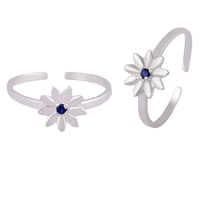 Daisy Blue Silver Toe Rings-TRMX113